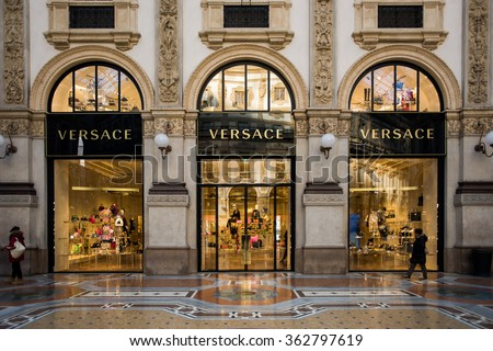 92f9e183b4a29 Shop windows of the Versace luxury boutique store in Milan on January 15