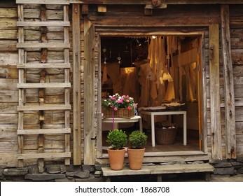 Shop in a wooden house at Bryggen, Bergen, Norway