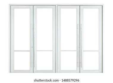 Shopfront double glass doors isolated on white background, clear empty open windows facade frame for design, modern shop interior elements
