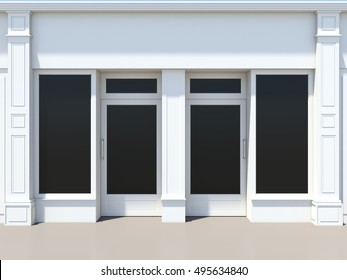 Shopfront with large windows. White classic store facade 3D render