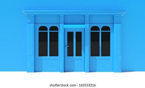 Shopfront in the sun - classic  blue store front
