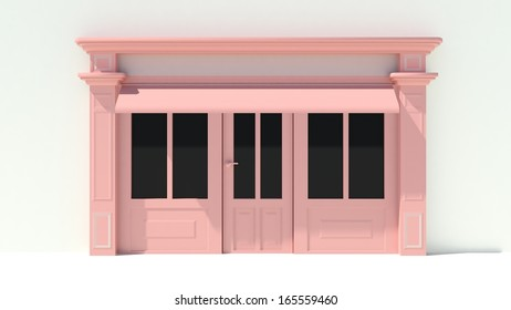 Shopfront in the sun - classic pink store front