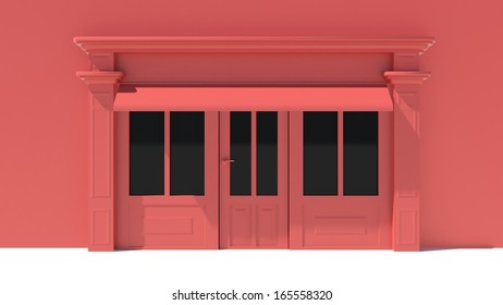 Shopfront in the sun - classic red store front