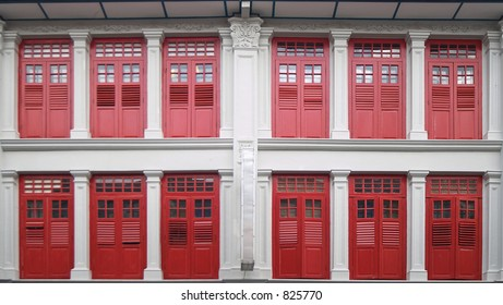 Shophouse windows in Chinatown, Singapore