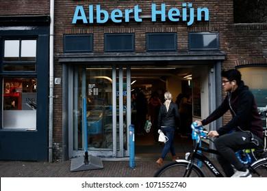 A Shopper enter an Albert Heijn store of Dutch retailer Royal Ahold NV in Delft, Netherlands on Apr. 15, 2018