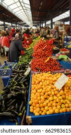 Shoppers buy tomatoes at the weekly market  in Canakkale,  Turkey