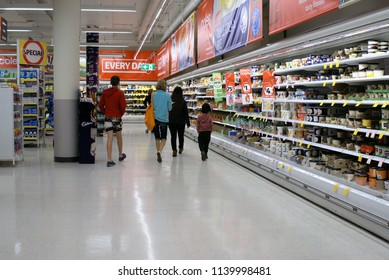 Shoppers at Coles supermarket in Port Macquarie coastal town of Australia on 10 July 2018. Inside view people shopping in Coles grocery store. Illustrative editorial.