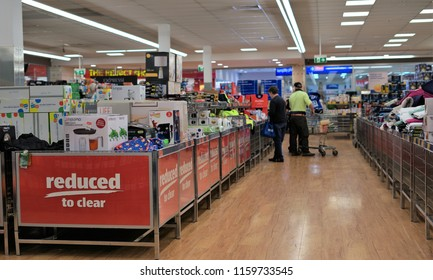 Shoppers inside Aldi store in Australian town of Kempsey in New South Wales on 13 August 2018. Shelves full of products inside grocery shop. Illustrative editorial.