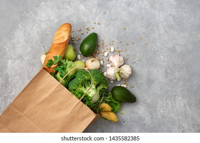 Shopping bag food with healthy food with copy space top view