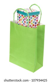 Shopping Bag and Gift Box on White Background on White Background