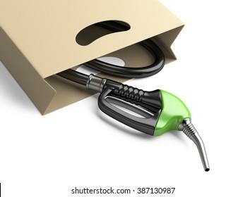 Shopping bag with green fuel pump nozzle. Bio fuel concept.