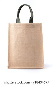 Shopping bag made out of recycled Hessian sack on white background
