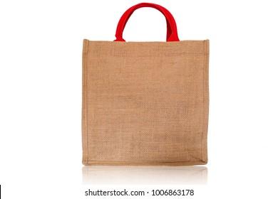 Shopping bag on isolate white background., Sackcloth texture