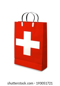 Shopping bag with Swiss  flag. Retail business on white background