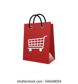 Shopping bags with shopping cart isolated on white background 3D rendering