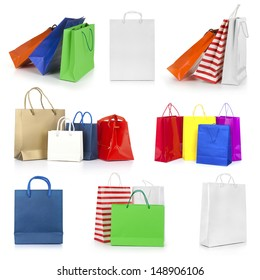 Shopping bags collection isolated on white background