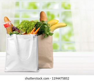 Shopping bags with groceries