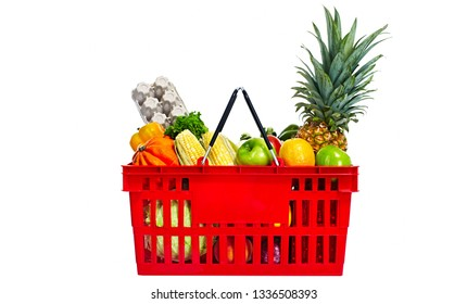 shopping basket with food fruits and legumes