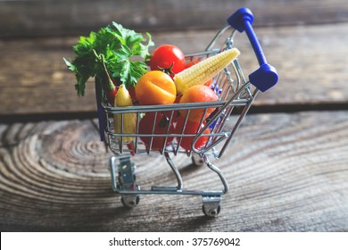 shopping basket with fresh vegetables, healthy eating