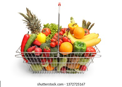 Shopping basket with fruit and vegetables isolated on white background