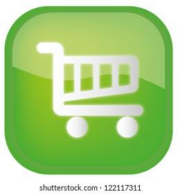 Shopping basket green glossy icon on white background