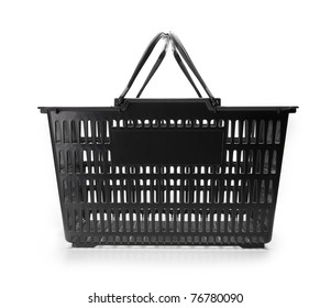 Shopping basket with handle up. empty.isolated on white.