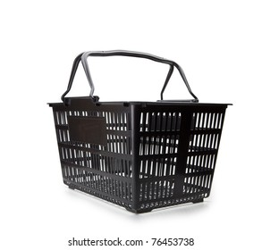 Shopping basket with handle up. Isolated on white.