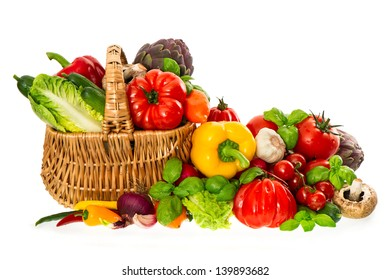 shopping basket with healthy fresh vegetables. organic diary products. food background. nutrition