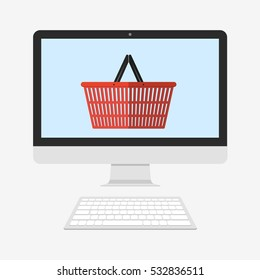 Shopping basket on PC screen. Cyber Monday and black Friday. Flat  illustration