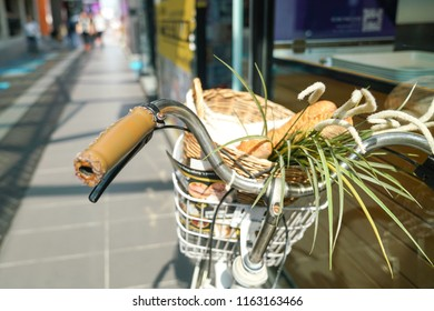 Shopping with a bicycle