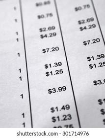 shopping bill invoice closeup