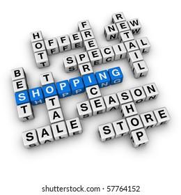 shopping  (blue-white cubes crossword series)