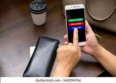 Shopping buttons app on the mobile phone with option to purchase such as pay now, pay later and add to cart.