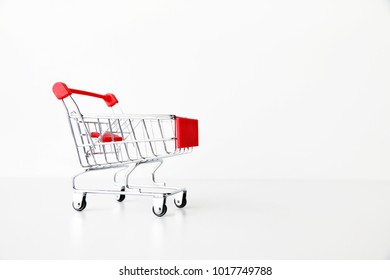 Shopping Car on White background Copy space