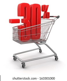 Shopping Cart and -30% (clipping path included)