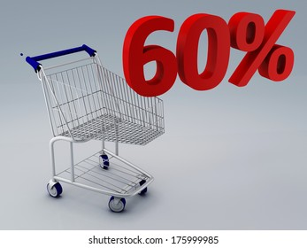 shopping cart and 60 percent