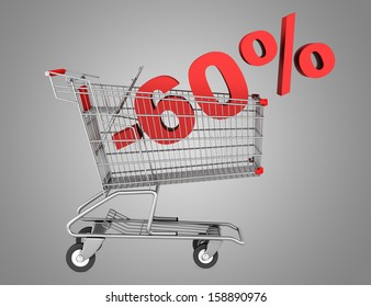 shopping cart with 60 percent discount isolated on gray background