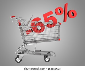 shopping cart with 65 percent discount isolated on gray background