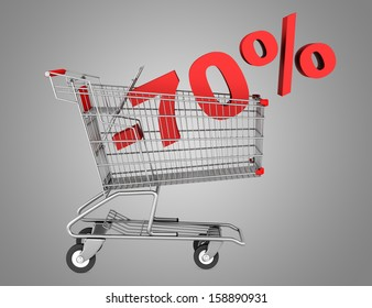 shopping cart with 70 percent discount isolated on gray background