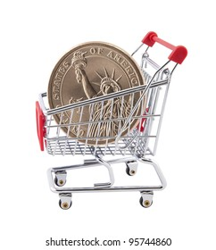 Shopping cart with American One Dollar coin