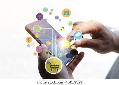 shopping cart with application software icons on mobile , business concept