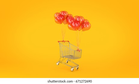 shopping cart, ball. 3d rendering