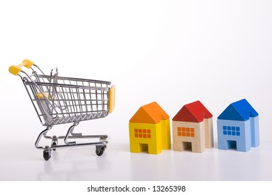 a shopping cart for buying houses
