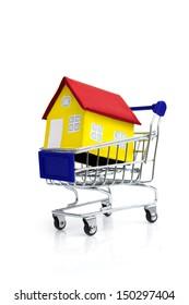 shopping cart carrying a mini house