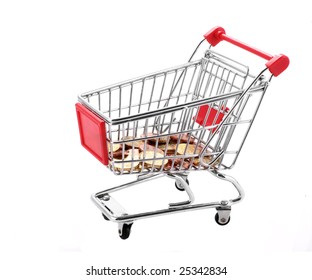 Shopping cart with coins inside