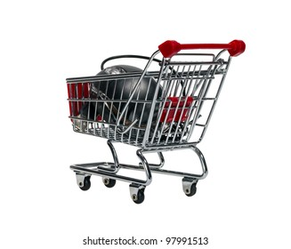 Shopping cart with a computer mouse isolated on white background