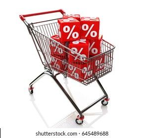 Shopping cart with cubes of percent when you make a trade-related information and discounts. 3d illustration