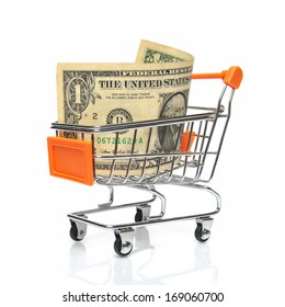 Shopping cart with dollar note
