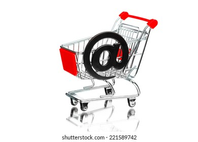 shopping cart with email symbol, isolated on white