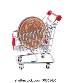 Shopping cart with euro cent coin on white background